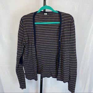 J. Crew Navy & Gold Striped Cardigan Sweater, Lrg